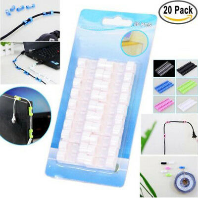 20pcs Self-Adhesive Cable Clips Organizer Drop Wire Holder Cord Management Home
