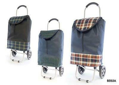 KS Brands BB0053 Sturdy Metal Framed Checked Wheeled Shopping Trolley - New