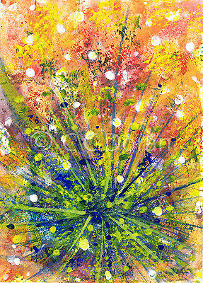 ACEO Ltd.Ed.Print Original Abstract Peacock Feathers Bird Fan XA029 Art Painting