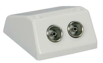 AV Link 121.804 TV Antenna Surface Wall Mount Double Coaxial Socket White 75 Ohm