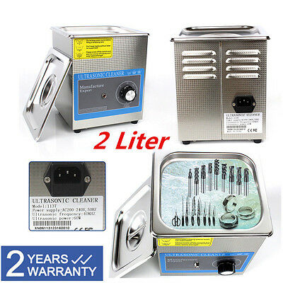 Stainless Steel 2L Liter Industry Ultrasonic Cleaner with Timer Clean + Basket