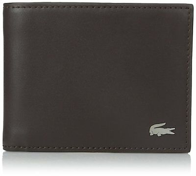 Lacoste Men's Fg Small Billfold Id Slot Dark Brown