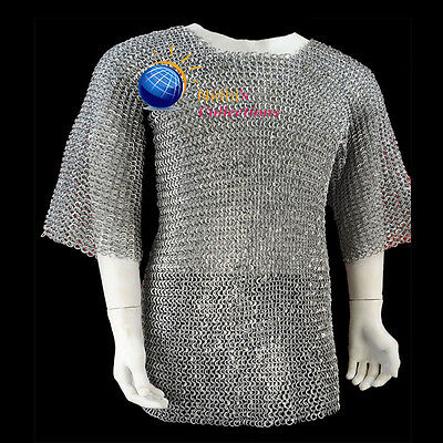 XXLARGE MEDIEVAL ARMOUR CHAINMAILLE SHIRT 10mm aluminium flat riv & washer