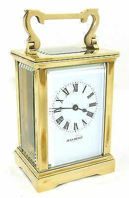 JEAN RENET French Brass Carriage Clock with Bevelled Glass & Winding Key WORKING