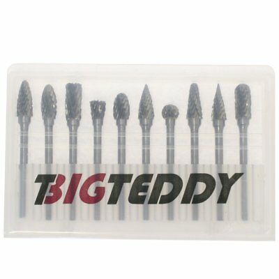 "BIGTEDDY - 10pcs Tungsten Double Cut Head Carbide Rotary Burr Set 1/8"" Shank"
