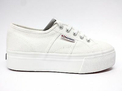 SUPERGA 2790 UP AND DOWN sneakers ginnastica in tela Bianco zeppa Scarpe Donna
