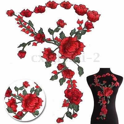 Flower Rose Embroidery Sew On Patch Badges Embroidered Cheongsam Fabric Applique