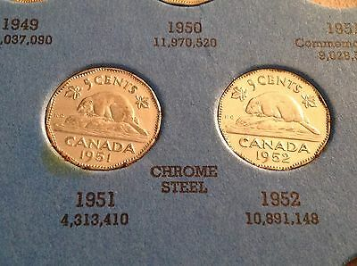 1951 & 1952 CHROME STEEL Canadian Five Cent, Penny, Canada Nickel