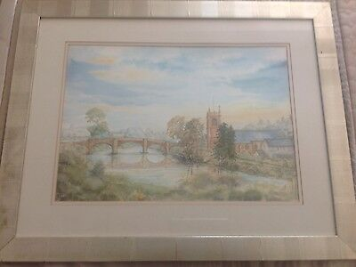 Original Signed Watercolour 'Of The Bridge', Bangor-On-Dee, North Wales