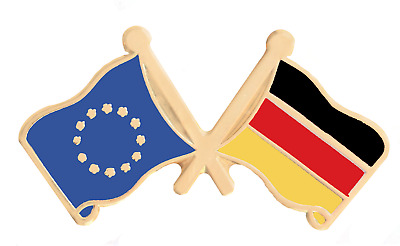 Germany & European Union EU Flag Friendship Courtesy Gold Plated Pin Badge