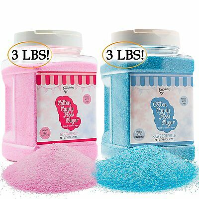 The Candery Cotton Candy Floss Sugar 2-Pack | Raspberry Blue and Strawberry