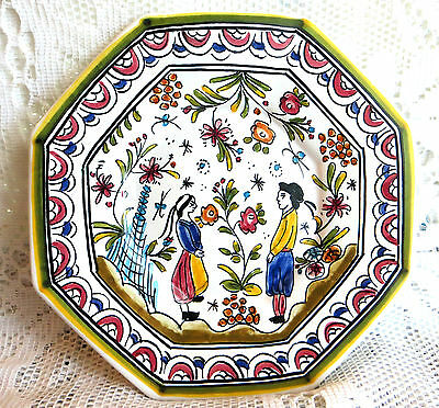 Vintage French Lafaiencerie Faience Hand Painted Tin Glazed Plate