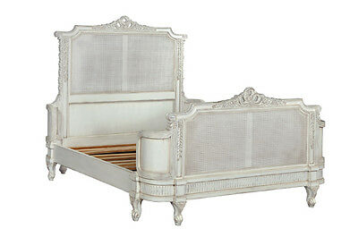 5' King Size Juliette French Caned Bed Antique White NEW CFR0009P