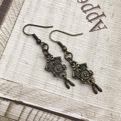 Antique Bronze Vintage EARRINGS Cuckoo CLOCK Hook Dangle Drop GIFT Handmade