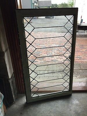 Sg 1412 Antique Geometric Transom Window Leaded Glass 23.25 X 40.5
