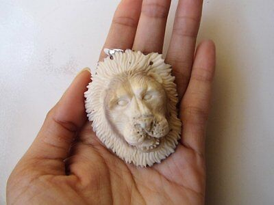 Pendant Necklace Lion Tiger Head From Deer Antler Carved with Silver 925_w847