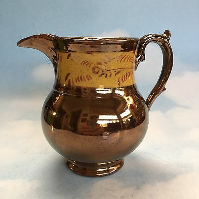 Copper Luster Lustreware Yellow Band Victorian Pitcher Jug Pottery England Vtg