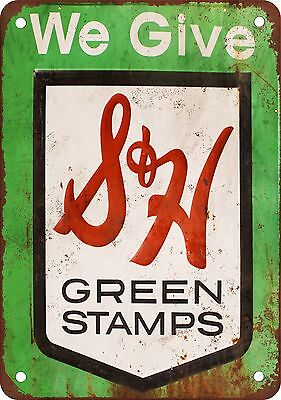 """7"""" x 10"""" Metal Sign - S&H Green Stamps - Vintage Look Reproduction"""
