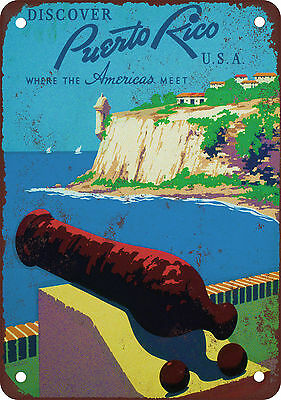"""7"""" x 10"""" Metal Sign - Puerto Rico Travel Poster - Vintage Look Reproduction"""