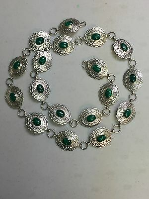 Mexican Sterling Silver And Malachite  Concho Link Belt