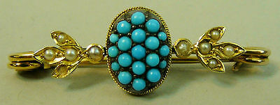 Fine Edwardian 15K Gold (Tested) Turquoise & Seed Pearl Bar Brooch C.1910 - 3 G