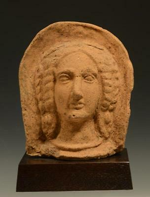 Beautiful Ancient Etruscan Terracotta Votive Female Head From the 4th Century BC