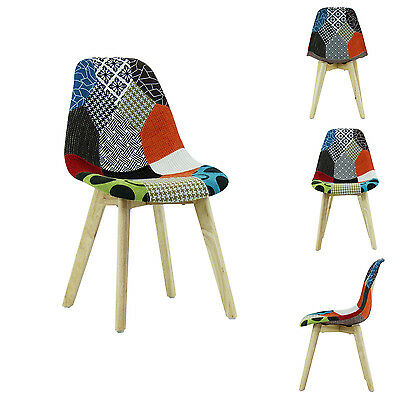 Jamie Dining Tulip Chair PATCHWORK - Eiffel Inspired -  Padded Seat