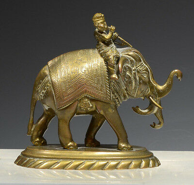INDIAN BRONZE FIGURE OF ELEPHANT AND RIDER - 20th C.