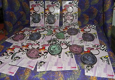 Cartoon Network 2000 - Powerpuff Girls Medallion Keychains Large Lot Of 16