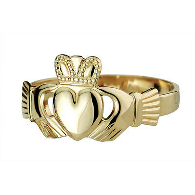 Mens 14k Yellow Gold Heavy Claddagh Ring By Solvar Made Hallmarked in Ireland