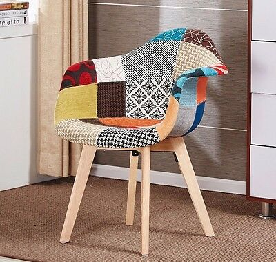 Jamie Dining Tulip Tub Chair PATCHWORK - Eiffel Inspired -  Padded Seat