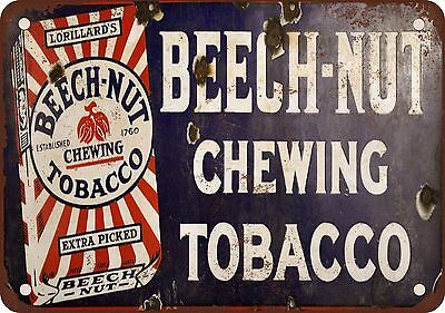 """7"""" x 10"""" Metal Sign - Beech-Nut Chewing Tobacco - Vintage Look Reproduction"""