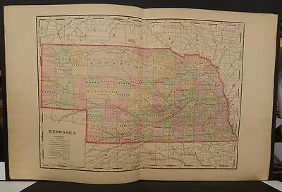 Nebraska State Map Hand Colored Double Page 1899  J9#15