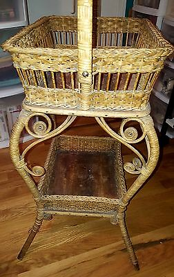 Antique Natural Wicker  Sewing Basket Stand