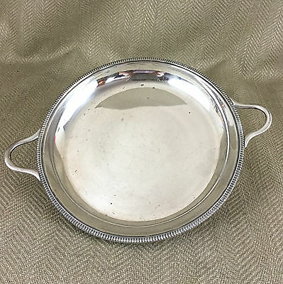 Antique Silver Plated Bowl Serving Dish Shallow Twin Handled Tray Round Vintage