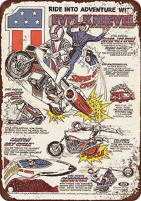 """7"""" x 10"""" Metal Sign - 1977 Evel Knievel Toys - Vintage Look Reproduction"""