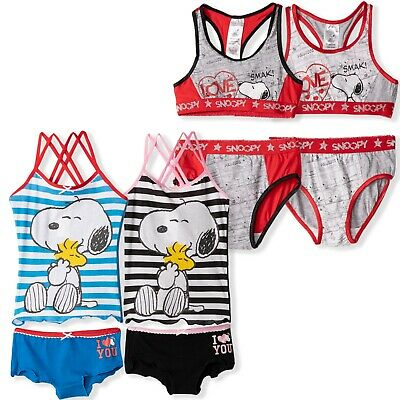 Peanuts Snoopy Dog Girls 4 PCS Underwear Sets Vest Bra & Knickers briefs 6-14yrs