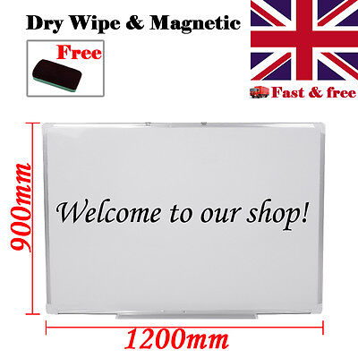Large Magnetic White Board 1200 x900 Dry wipe Plastic Aluminum Frame Home School