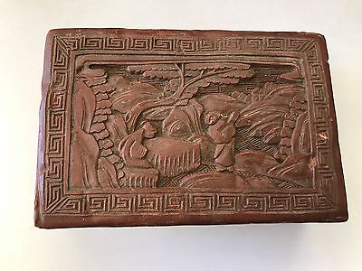 Antique Carved Chinese Red Cinnabar Lacquer Box