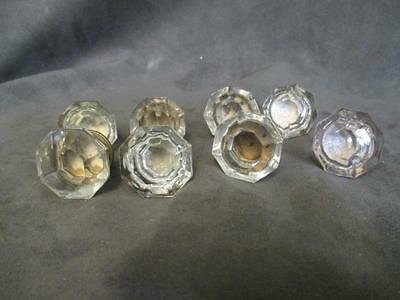 "8 Antique Clear Glass Brass Plate Drawer Pulls - 8 Sided 1-1/4"" #3  ks2"