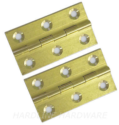 """2 Pack 2"""" Solid Brass Drawn Butt Hinges Sc + Screws [ Hg207 ]"""