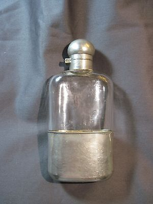 Flask Antique Hip Flask Keystone Railroad Pewter Hand Blown Glass