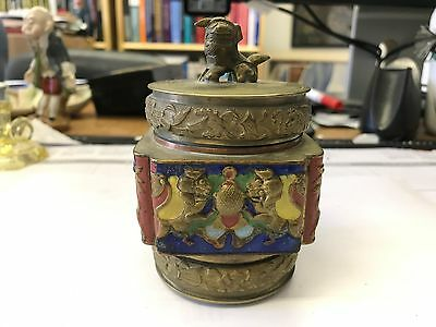 Antique Chinese Ginger Tea Brass Enamel Box Caddy w/ Bronze Foo Dog