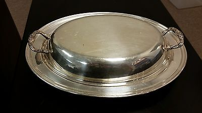 Estate Silver Plate Hotel Oval Covered Serving Double Handle Dish