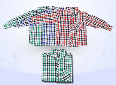 New Boys Girls Kids Smart Shirts Cotton Lattice Long Sleeved Casual Age 3-8Years