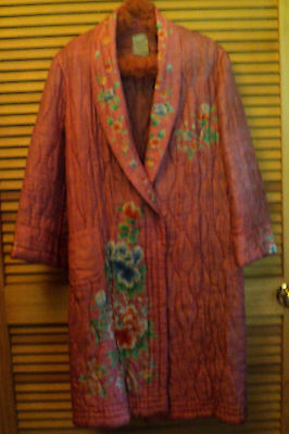 Vintage Japan Handmade Woman's Coat or Robe, Hand Painted, Hand Quilted