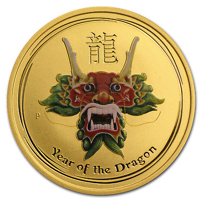 2012 1/2 oz Gold Lunar Year of the Dragon Coin - Colorized
