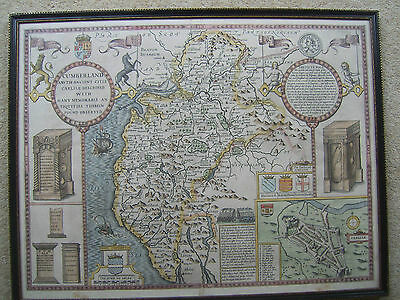 Cumberland: antique map by John Speed, 1627