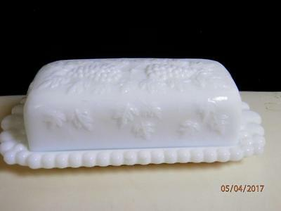 Vintage Westmoreland White Milk Glass Covered Butter Dish Paneled Grape scallops