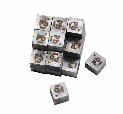 Lead Metal 10mm Density Cube 99.95% Pure for Element Collection